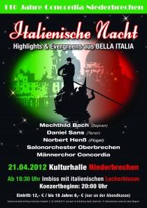Plakat für das Jahreskonzert des Männerchores
