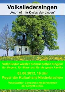 Plakat Volksliedersingen 2012